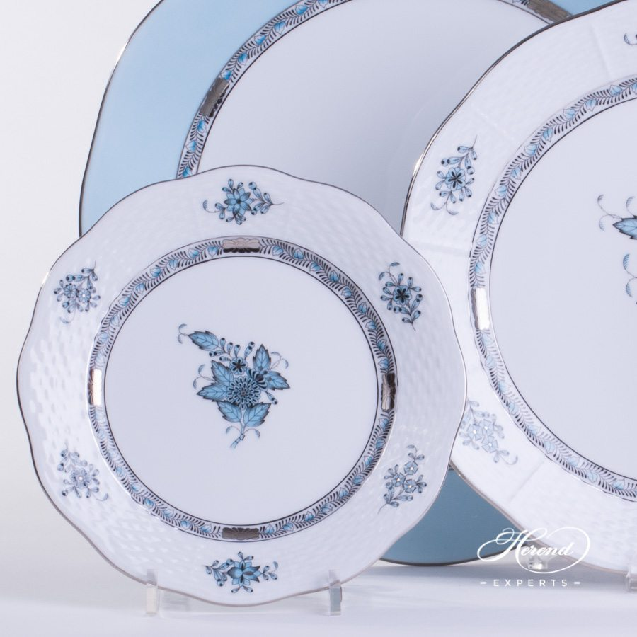 Place Setting 4 Piece Apponyi Turquoise ATQ3-PT pattern - Herend fine china.