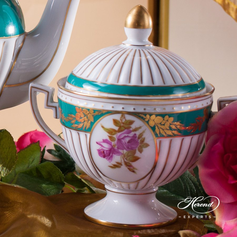 Tea Set for 2 Persons Belvedere Empire pattern - Herend porcelain hand painted.