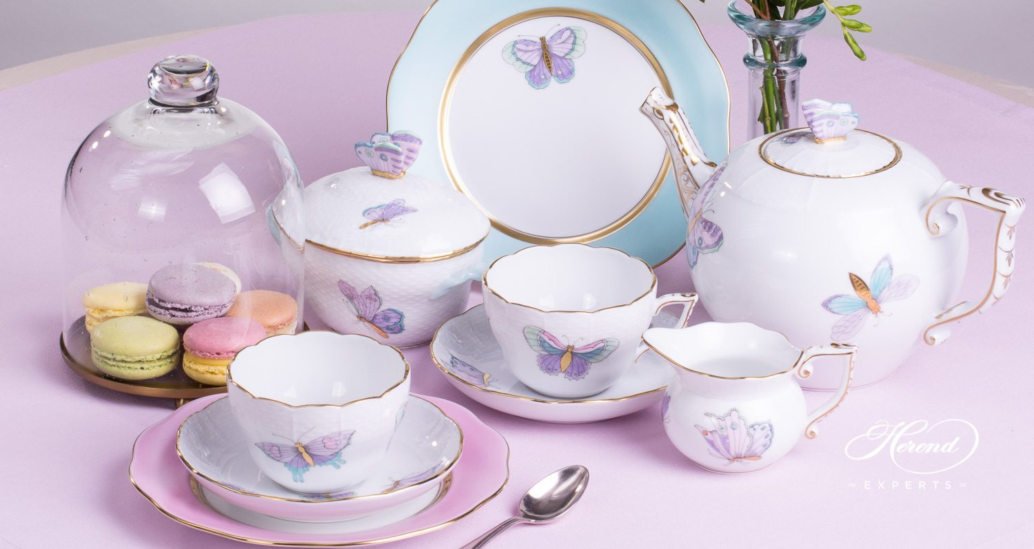 Tea Set For 2 Persons Royal Garden Turquoise Herend Experts