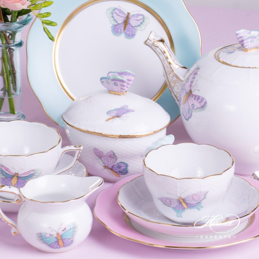 Tea Set for 2 Persons Royal Garden EVICTP2 Turquoise Butterfly pattern - Herend porcelain hand painted.