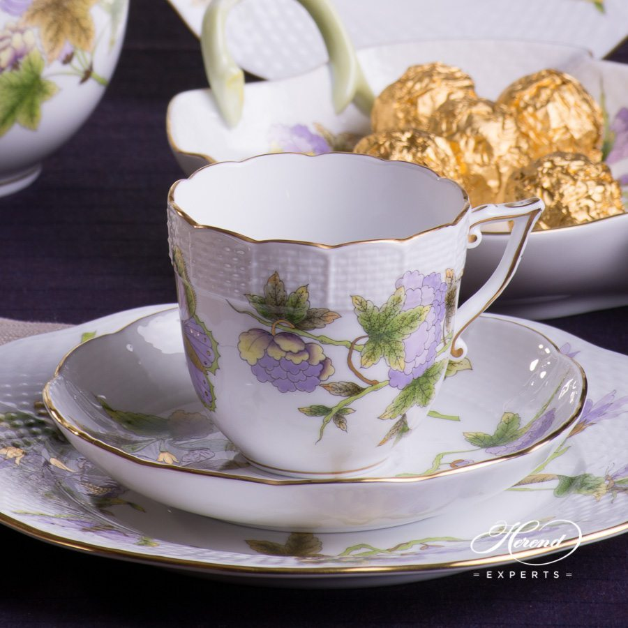 Coffee Set for 2 Persons Royal Garden EVICTF1 Green Flower pattern - Herend porcelain hand painted.
