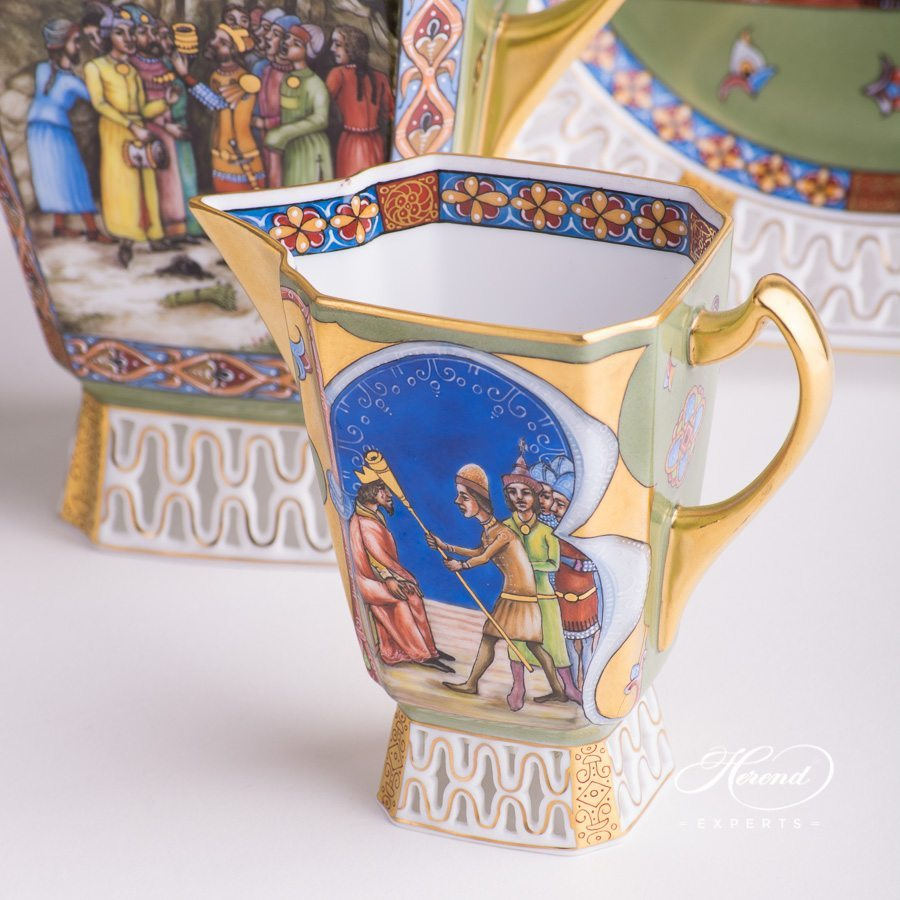 Coffee Set / Espresso Set for 2 Persons - Medieval Miniatures HHVT decor. Limited to: 25 pieces. Herend porcelain hand painted