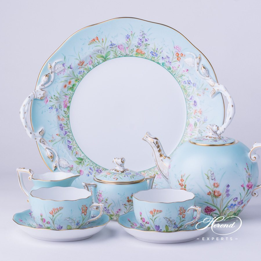 Tea Set for 2 Persons Four Seasons QS pattern. Herend porcelain hand painted