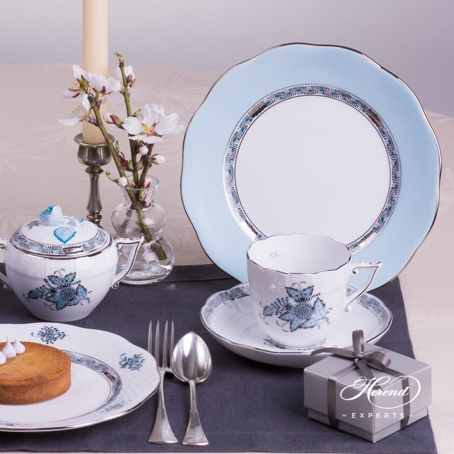 Coffee Set for 2 Persons Apponyi Turquoise ATQ3-PT pattern - Herend porcelain hand painted.