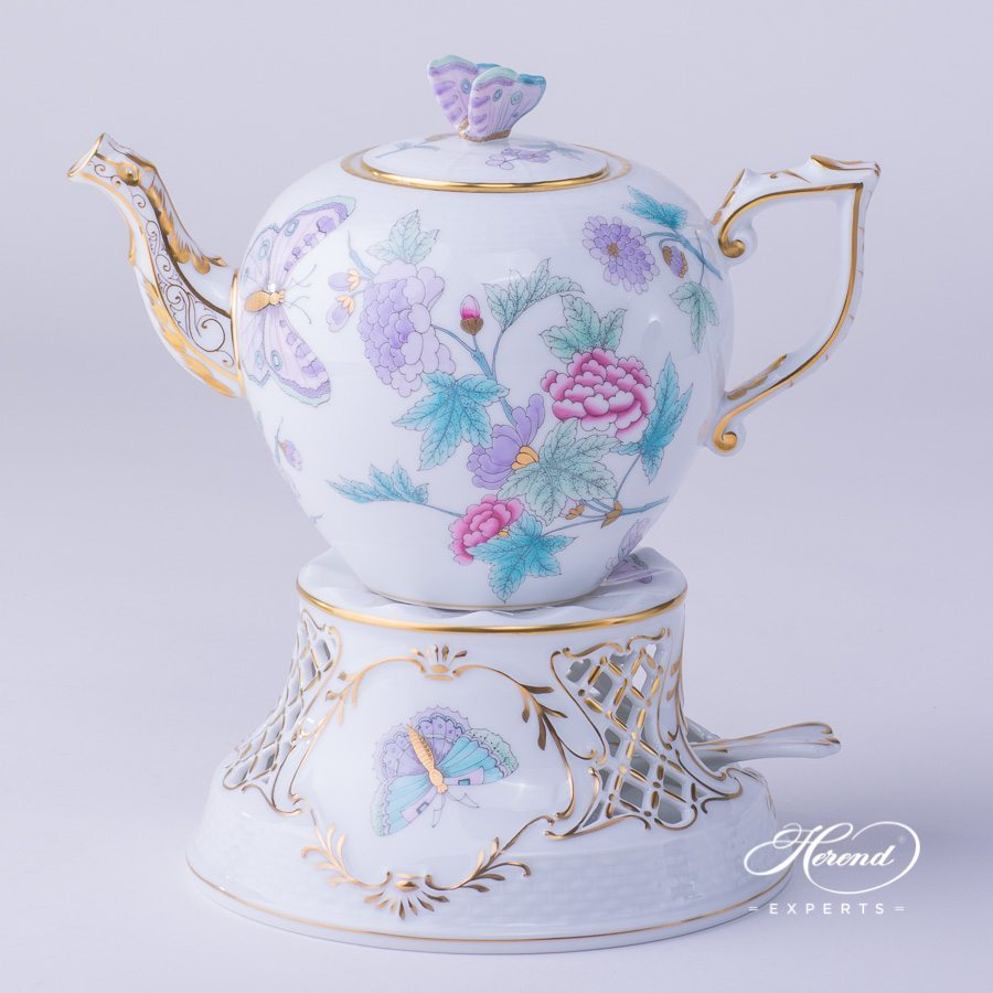 Tea Pot 606-0-17 EVICT2 with Tea Stove 455-0-00 EVICTP2 Butterfly turquoise patterns - Herend porcelain hand painted