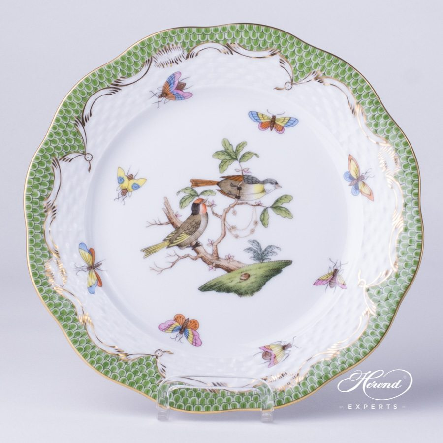 Dessert Plate 517-0-00 RO-ETV green fish scale decor - Herend porcelain hand painted.