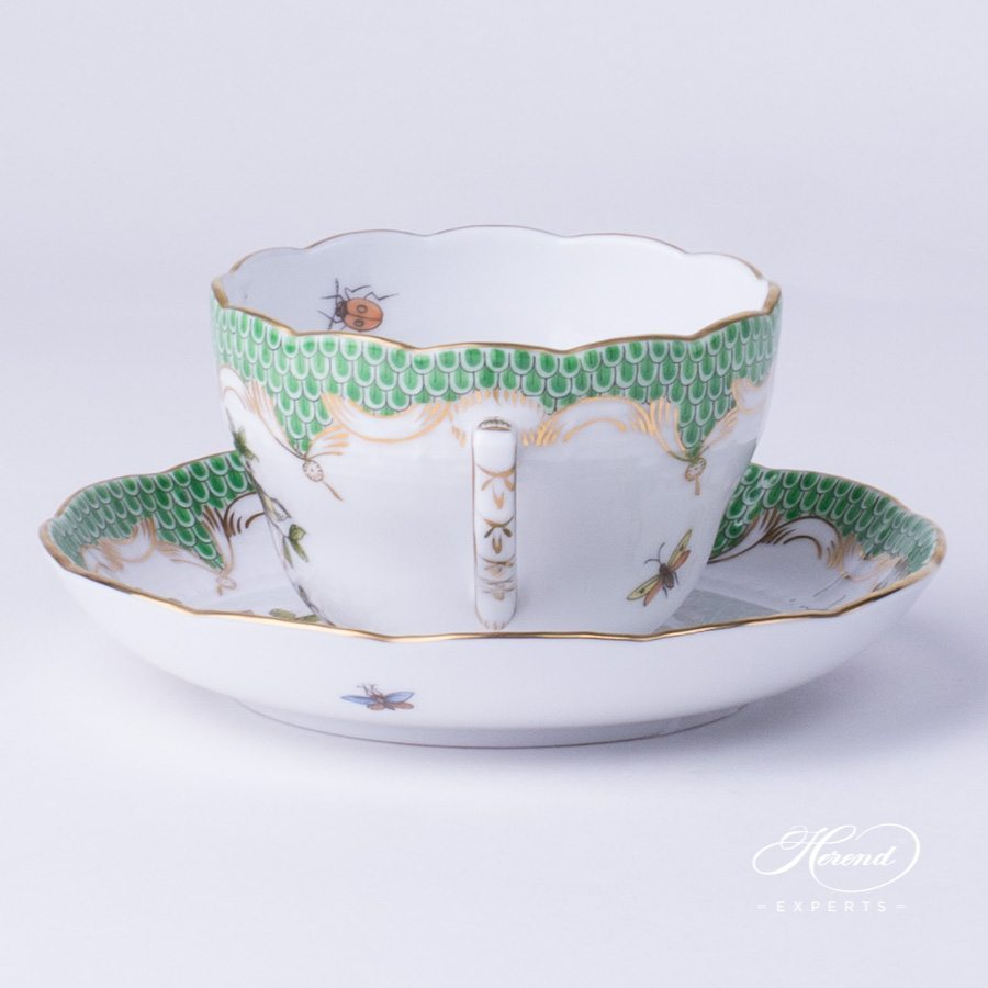 Tea Cup with Saucer 730-0-00 RO-ETV Rothschild Bird green fish scale decor - Herend porcelain hand painted.