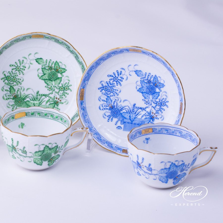 Tea Cup with Saucer 730-0-00 FV Green and 730-0-00 FB Blue Indian Basket pattern - Herend fine china hand painted.