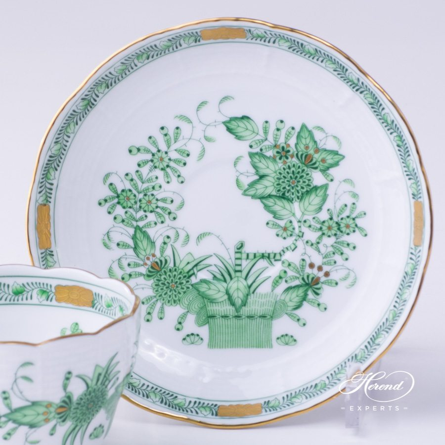 Tea Cup with Saucer 730-0-00 FV Indian Basket Green pattern - Herend porcelain hand painted.
