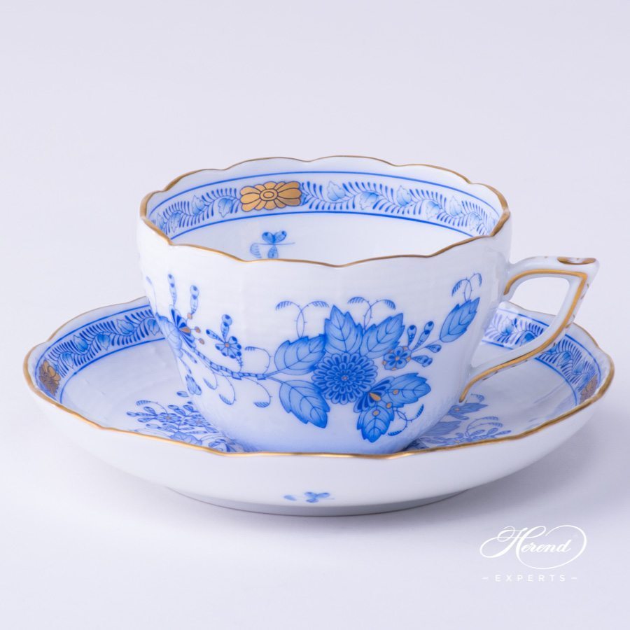 Tea Cup with Saucer 730-0-00 FB Indian Basket Blue pattern - Herend porcelain hand painted.