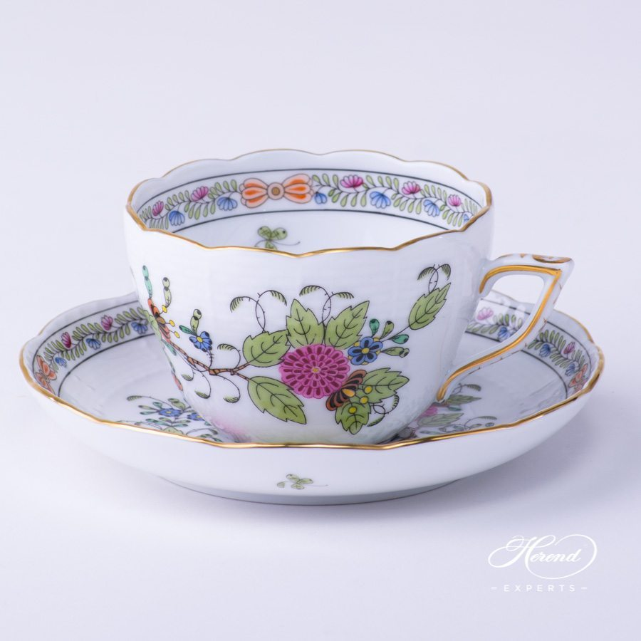 Tea Cup with Saucer 730-0-00 FD Indian Basket Multicolour pattern - Herend porcelain hand painted.
