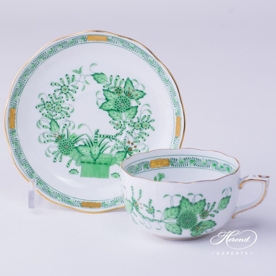 Tea Cup with Saucer 724-0-00 FV Indian Basket Green pattern - Herend porcelain hand painted.