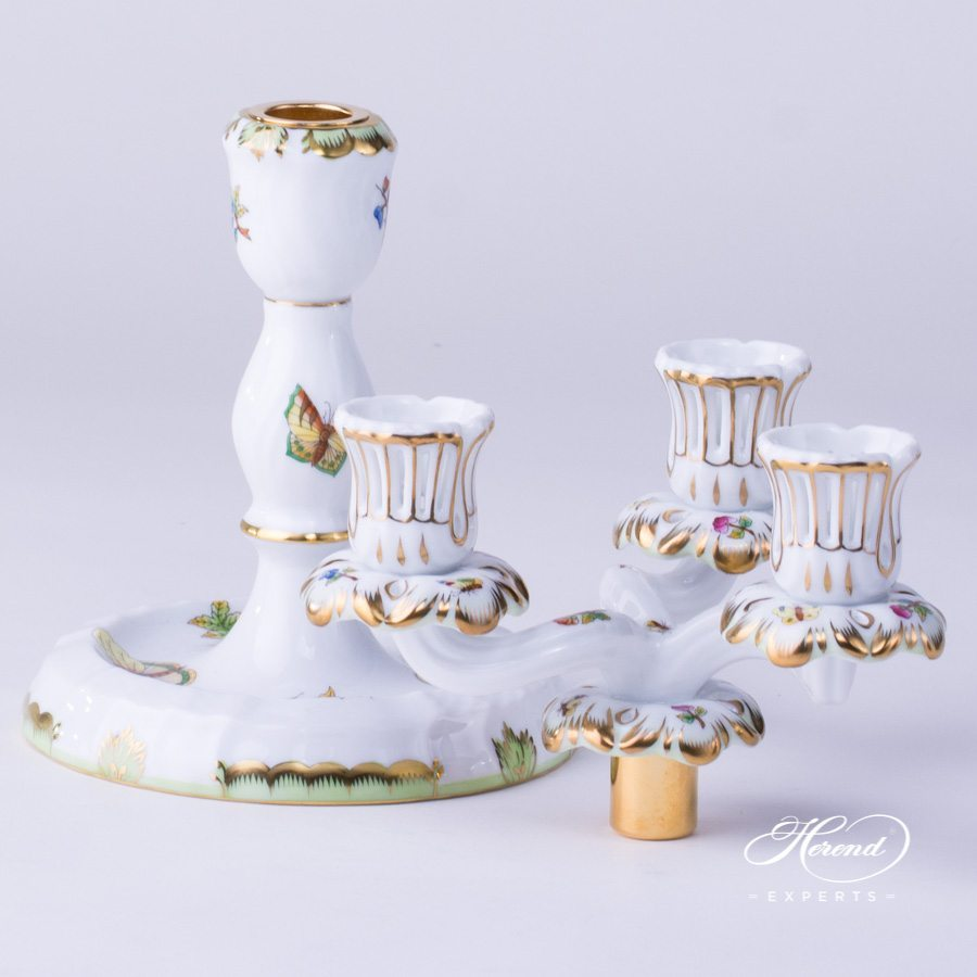 Candlestick 3 Branched Queen Victoria VBO pattern - Herend porcelain hand painted.