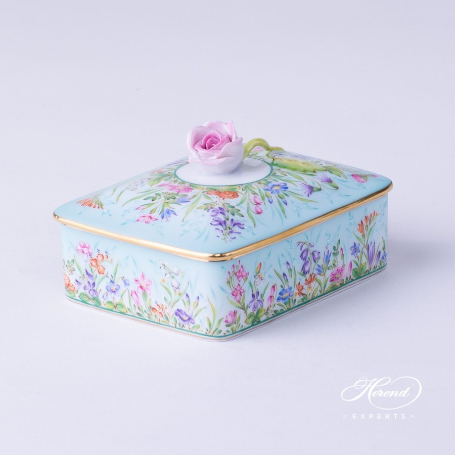 Fancy Box w. Lid 7894-0-09 QS-X1 Four Seasons Flower pattern. Herend fine china hand painted. Bonbonniere or Candy Box. Painted only by Master Painters