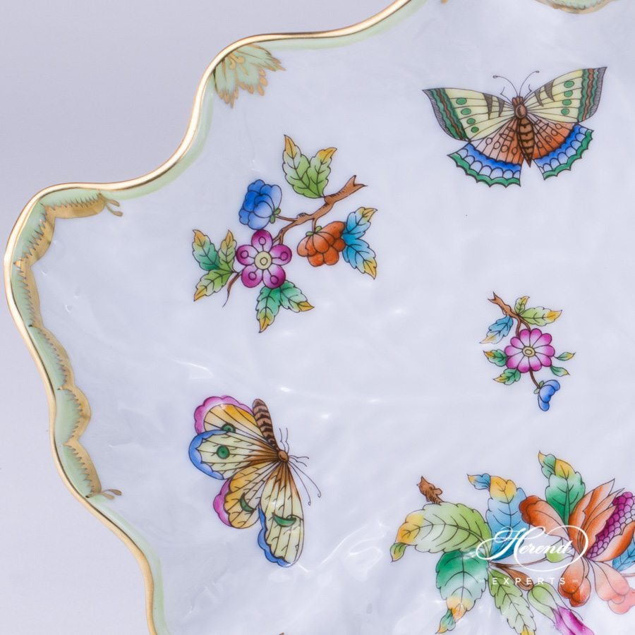 Leaf Dish with Butterfly Queen Victoria VBO pattern - Herend porcelain hand painted.