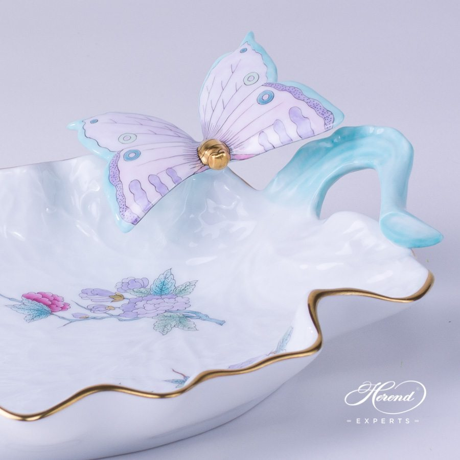 Leaf Dish with Butterfly 7680-0-17 EVICTF2 Royal Garden pattern. Herend porcelain hand painted