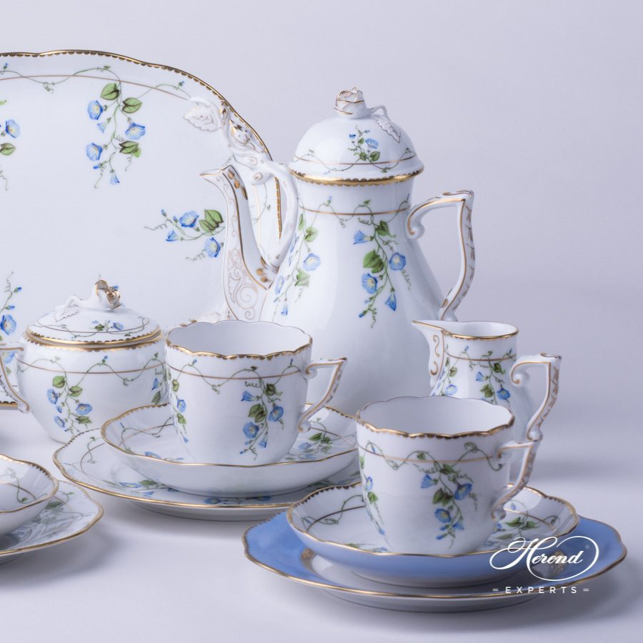 Coffee Set for 4 persons Nyon - Morning Glory pattern - Herend porcelain hand painted.