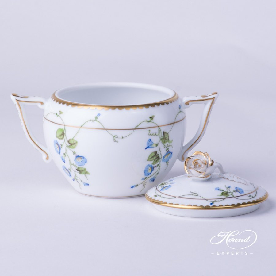 Sugar Basin w. Twisted Knob 20472-0-06 NY Nyon / Morning Glory Flower pattern. Herend fine china. Hand painted Classic style
