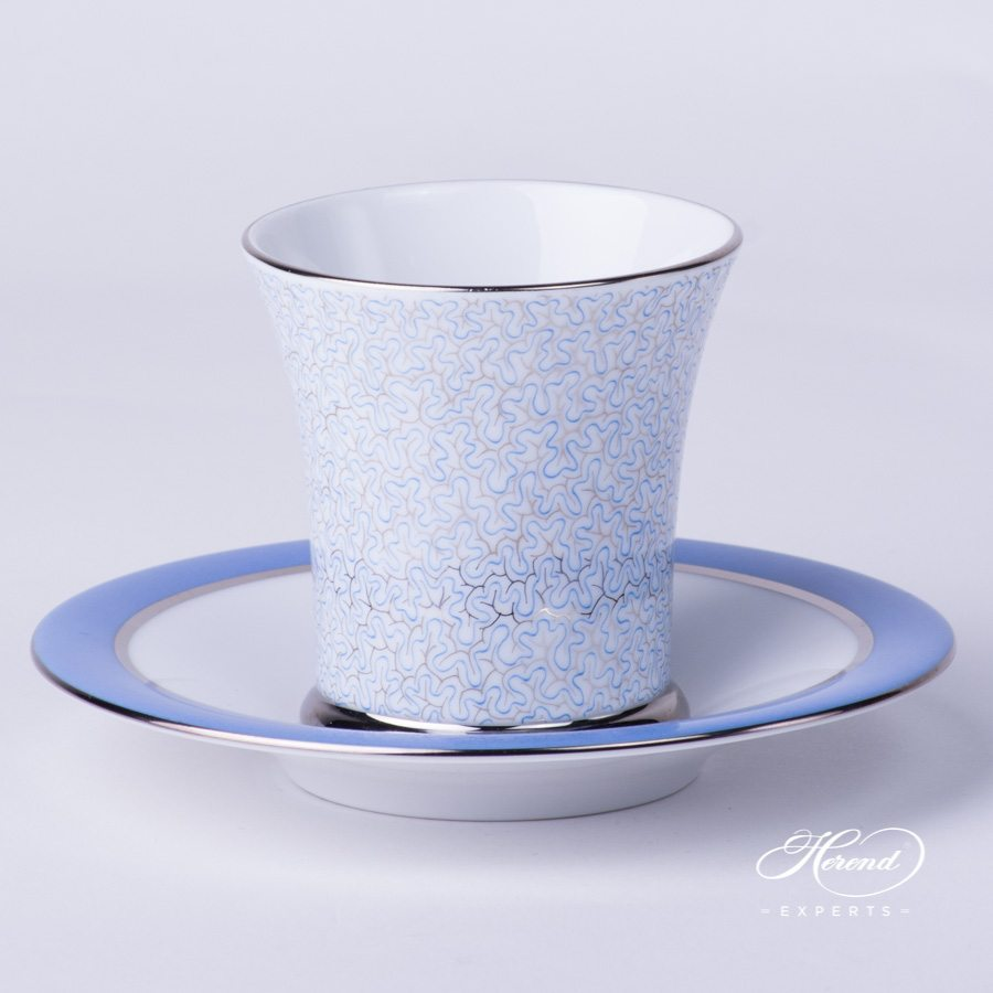 Coffee / Mocha Cup with Saucer 4914-2-00 ONYXB-PT Blue decor. Herend porcelain hand painted