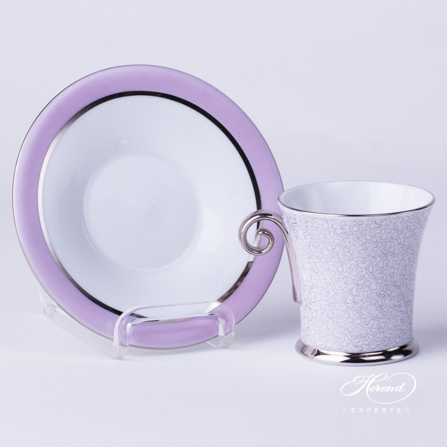 Mocha Cup with Saucer 4914-2-00 ONYXL-PT - Onyx Lilac with Platinum pattern - Herend porcelain hand painted.