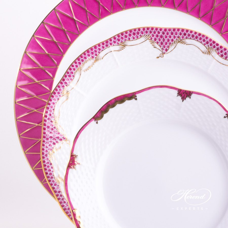 Place Setting 3 Piece Pink Mixed Set - Herend fine china.
