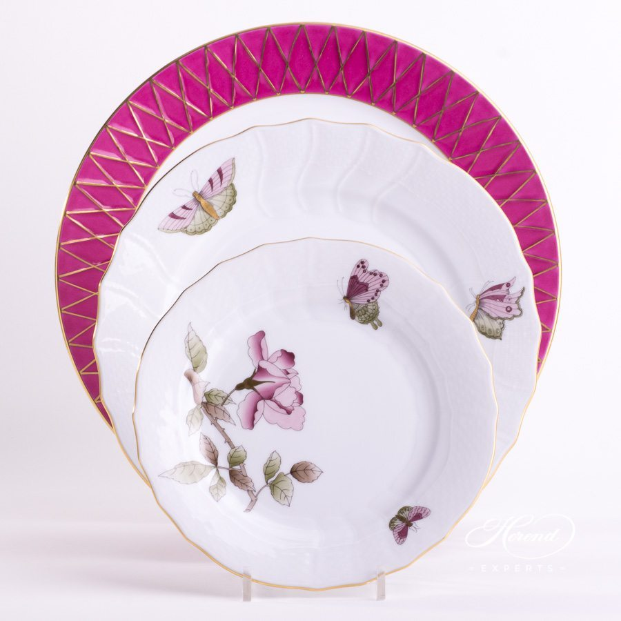 Place Setting 3 Piece Pink Victoria Grande Set - Herend fine china.