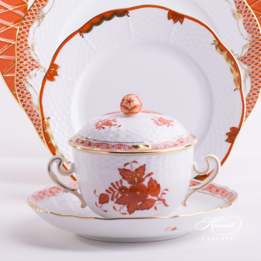 Place Setting with Soup Cup - 5 Pieces - Orange / Rust Mixed Set. Herend Fine china hand painted