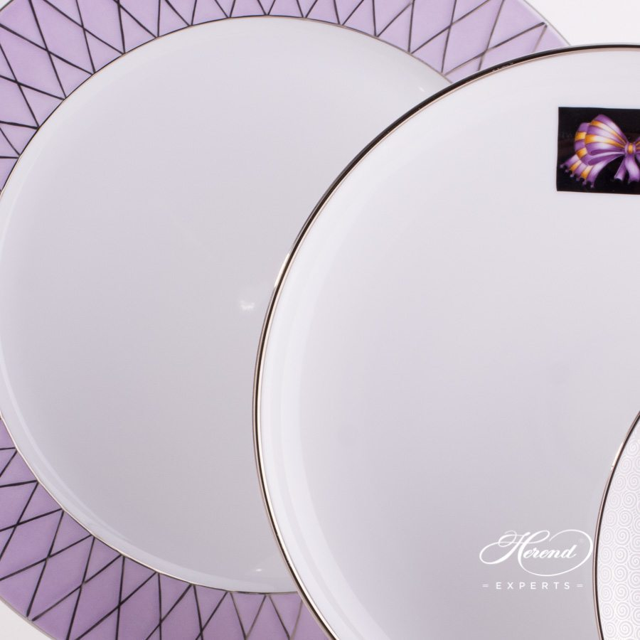 Place Setting with Soup Cup 4 Piece Hermitage Lilac Platinum Set - Herend fine china.