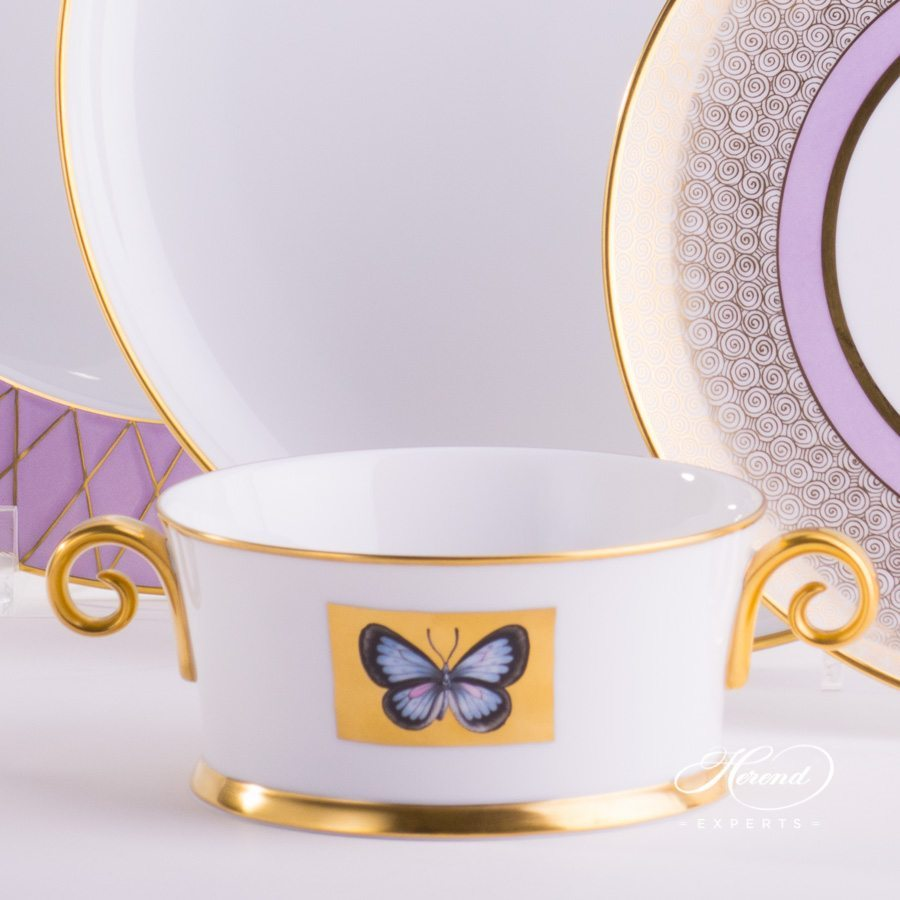 Place Setting 4 Piece Hermitage Lilac Set - Herend fine china.