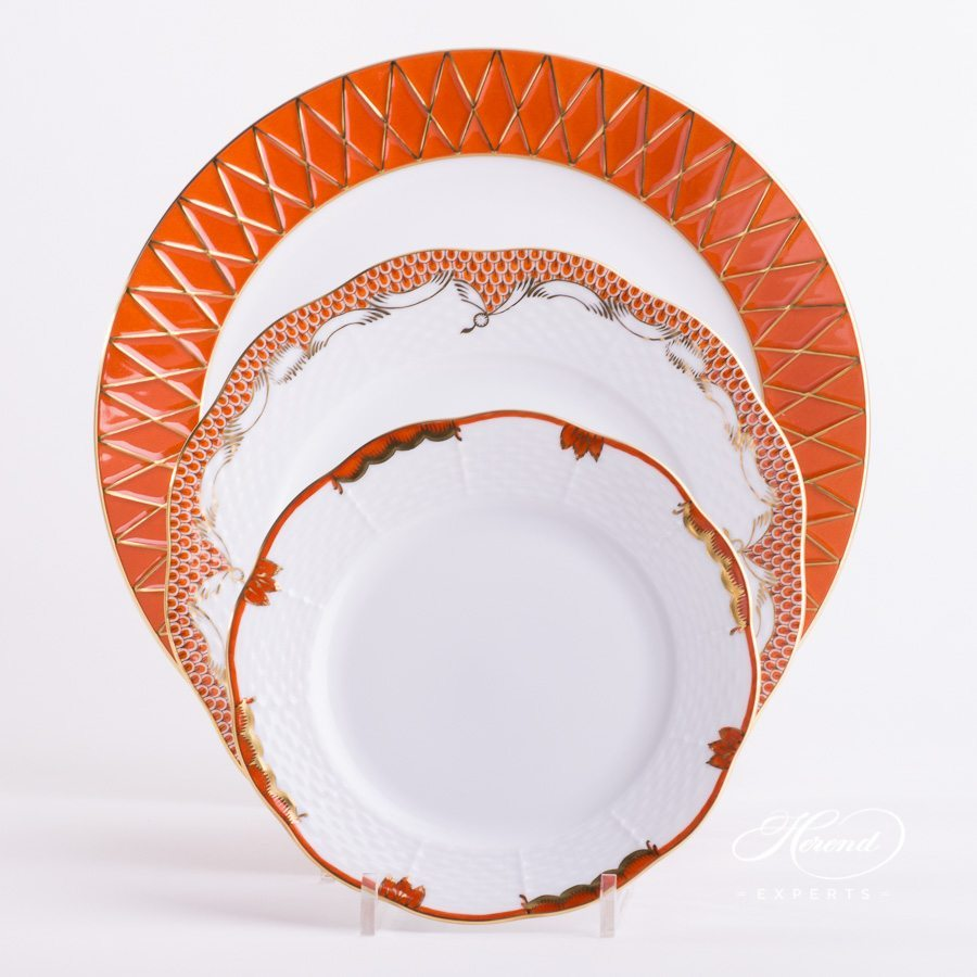 Place Setting 3 Pieces - Orange / Rust Mixed Set. Herend fine china