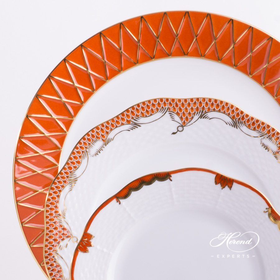 Place Setting 3 Piece Orange Mixed Set painted in Orange colour - Herend fine china.