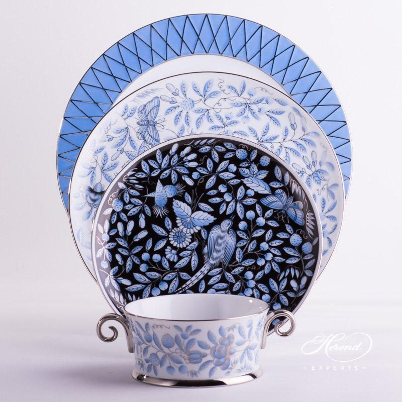 Place Setting with Soup Cup 4 Piece Blue ZOBA Set painted in blue colour - Herend fine china.