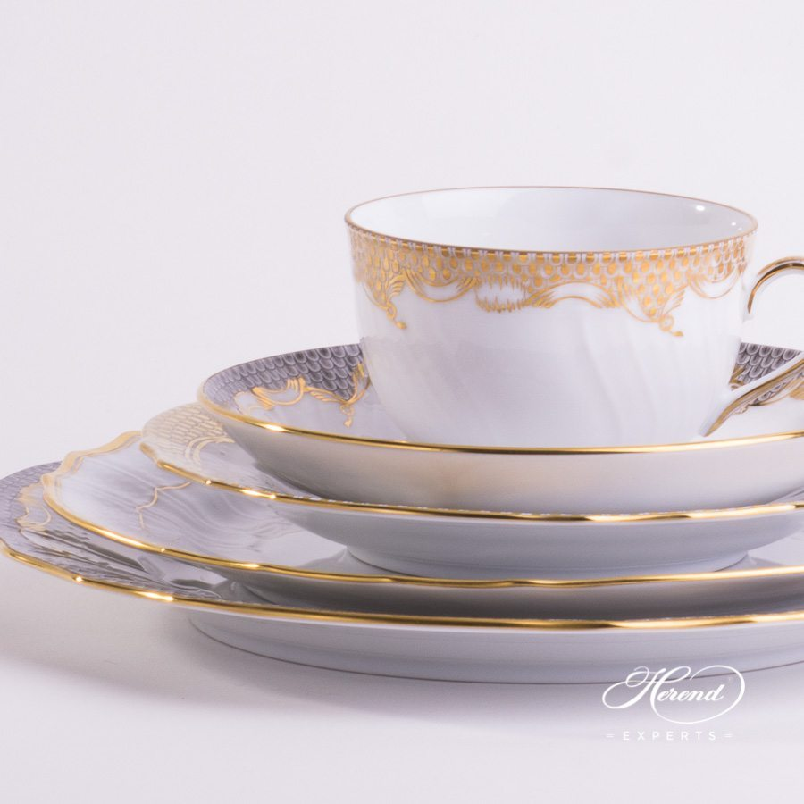 Place Setting with Tea Cup - 5 Piece - Herend Gold Mixed Set painted in Gold colour - Herend fine china.