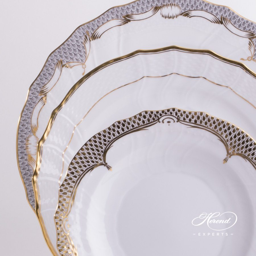 Place Setting 3 Piece - Gold Mixed Set - Herend fine china hand painted.