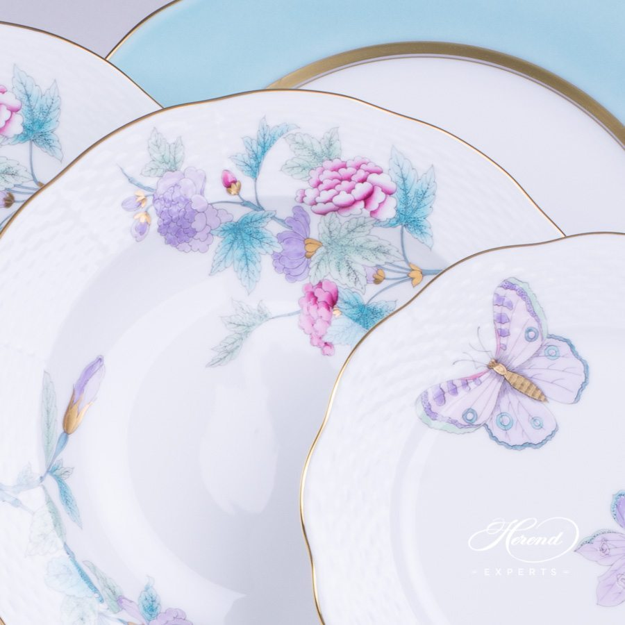 Place Setting 4 Pieces Royal Garden Turquoise - 1 Version. Herend fine china hand painted