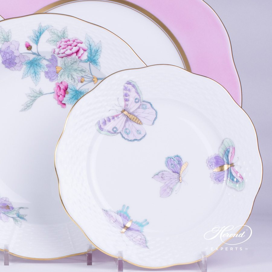 Place Setting 4 Pieces Royal Garden Turquoise - 2 Version. Herend fine china hand painted