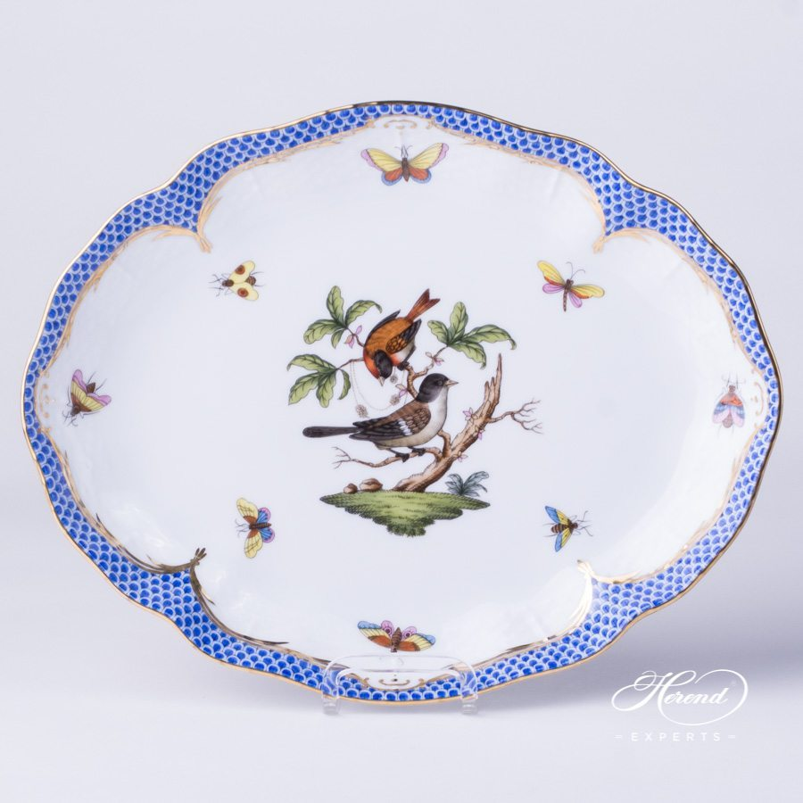 Oval Dish 211-0-00 RO-EB Rothschild Bird blue fish scale decor - Herend porcelain hand painted.
