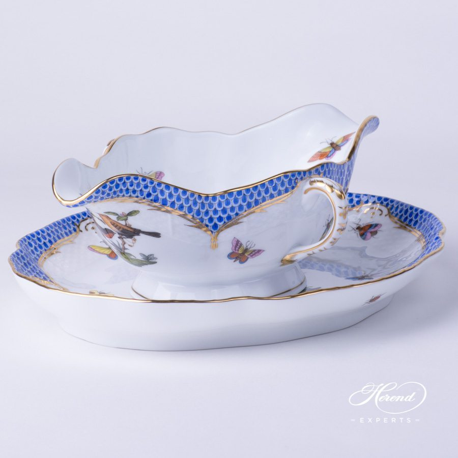 Sauce / Gravy Boat 220-0-00 RO-EB and Oval Dish 211-0-00 RO-EB Rothschild Bird Blue Fish Scale design. Herend fine china hand painted. Tableware
