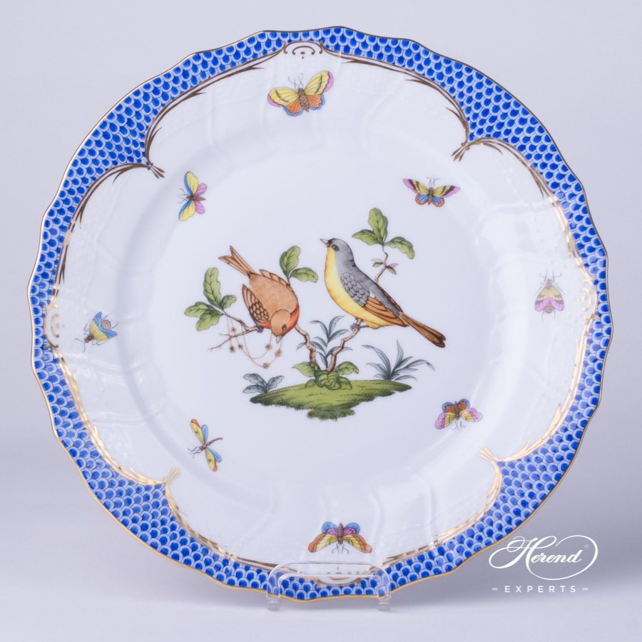 Dinner Plate 1524-0-00 RO-EB Rothschild Bird Blue Fish scale design. Herend fine china tableware. Hand painted