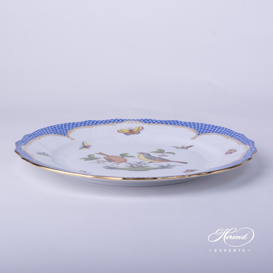 Dinner Plate 1524-0-00 RO-EB Rothschild Bird blue fish scale decor - Herend porcelain hand painted.