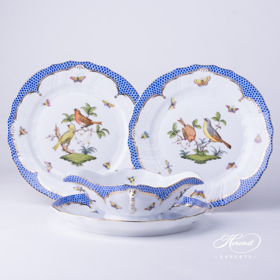 Sauce Boat 220-0-00 RO-EB with Oval Dish and Dinner Plate 1524-0-00 RO-EB Rothschild Bird blue fish scale decor - Herend porcelain hand painted.