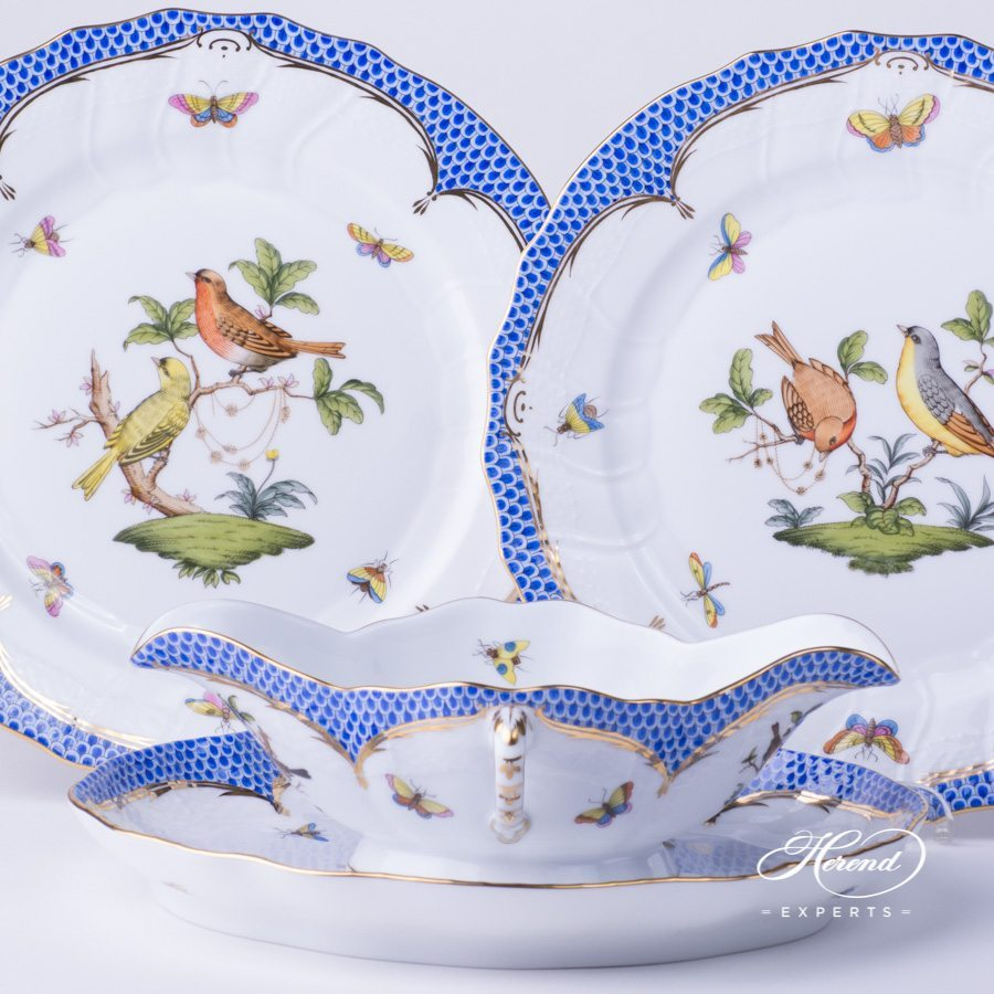 Sauce Boat 220-0-00 RO-EB with Oval Dish and Dinner Plate 1524-0-00 RO-EB Rothschild Bird Blue Fish scale design. Herend fine china hand painted. Tableware