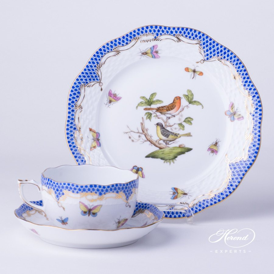 Tea Cup with Dessert Plate - Herend Rothschild Bird Blue Fish Scale RO-ETB design. Herend fine china tableware. Hand painted