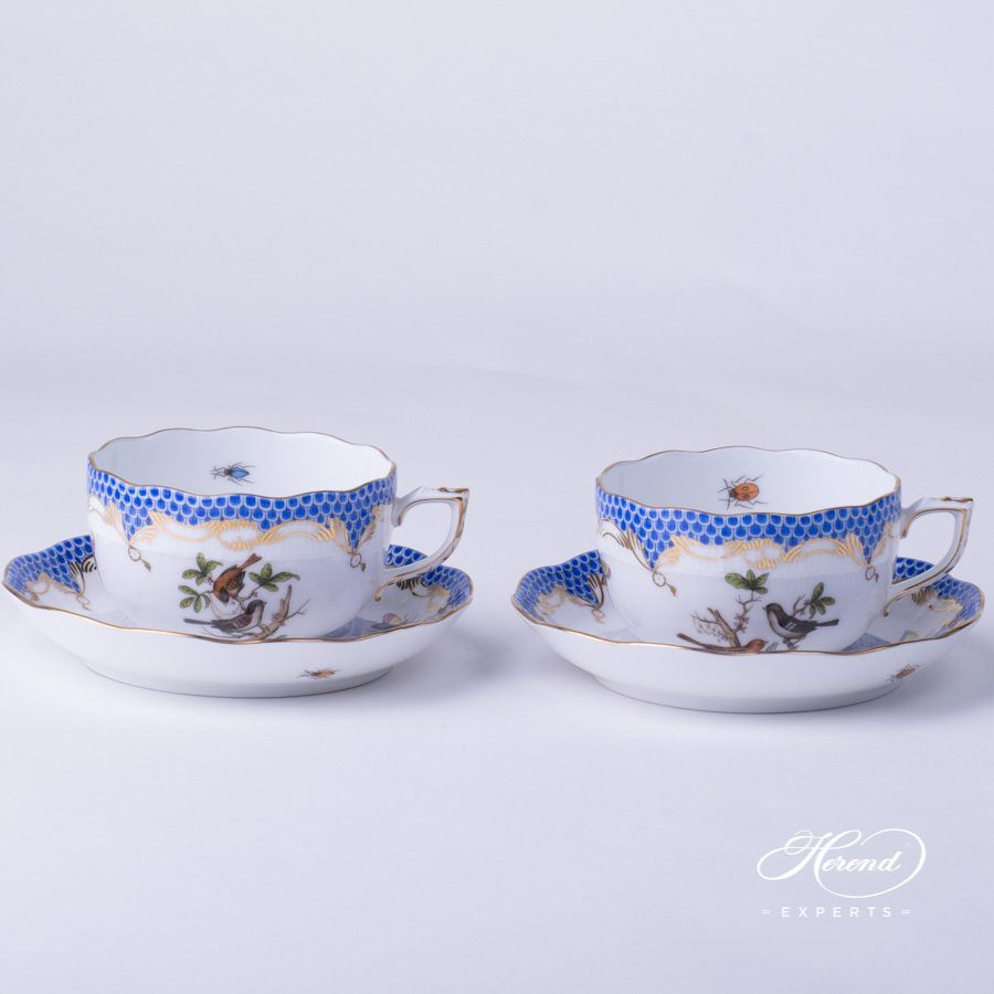 Tea Cup 724-0-00 RO-ETB Rothschild Bird blue fish scale decor - Herend porcelain hand painted.