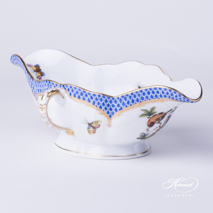 Sauce / Gravy Boat 220-0-00 RO-EB Rothschild Bird Blue Fish Scale design. Herend fine china hand painted. Tableware