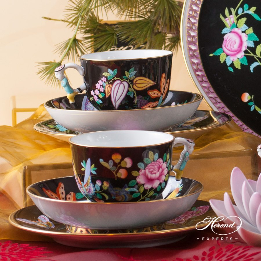 Tea Set for 2 Persons - SP225-FN Luxurious Butterfly on Black Background decor. Herend porcelain hand painted