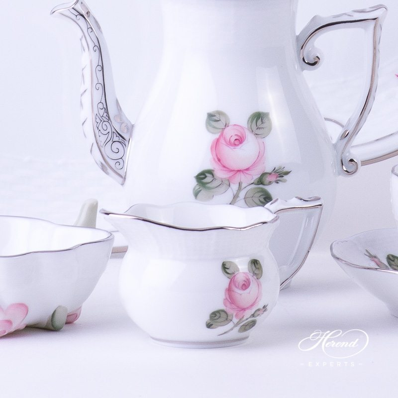 Coffee /EspressoSet for 2 Persons - Herend Vienna / Viennese Rose Platinum Simple pattern. Herend fine china hand painted. Classic Herend Flower pattern