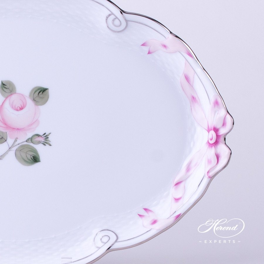 Tray with Ribbon Vienna Rose Platinum VGRS-PT - Herend porcelain hand painted.