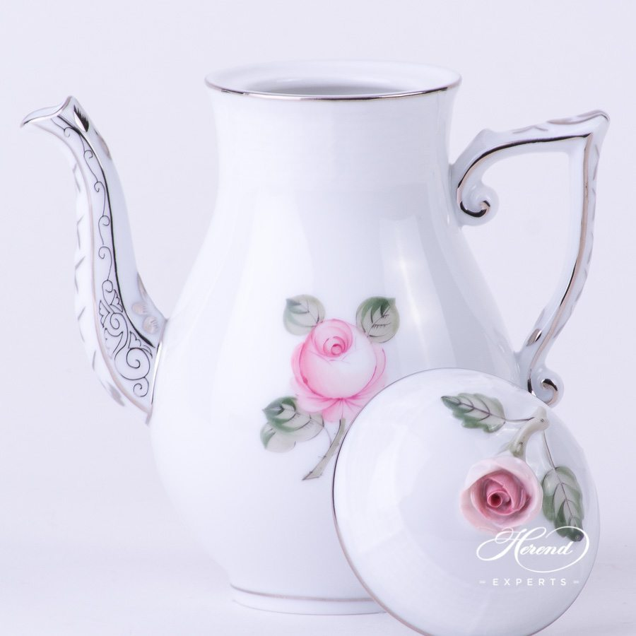 Coffee Pot w. Rose Knob 614-0-09 VGRS-PT Vienna Rose Platinum Simple pattern. Herend fine china hand painted. Modern version of Viennese Rose design