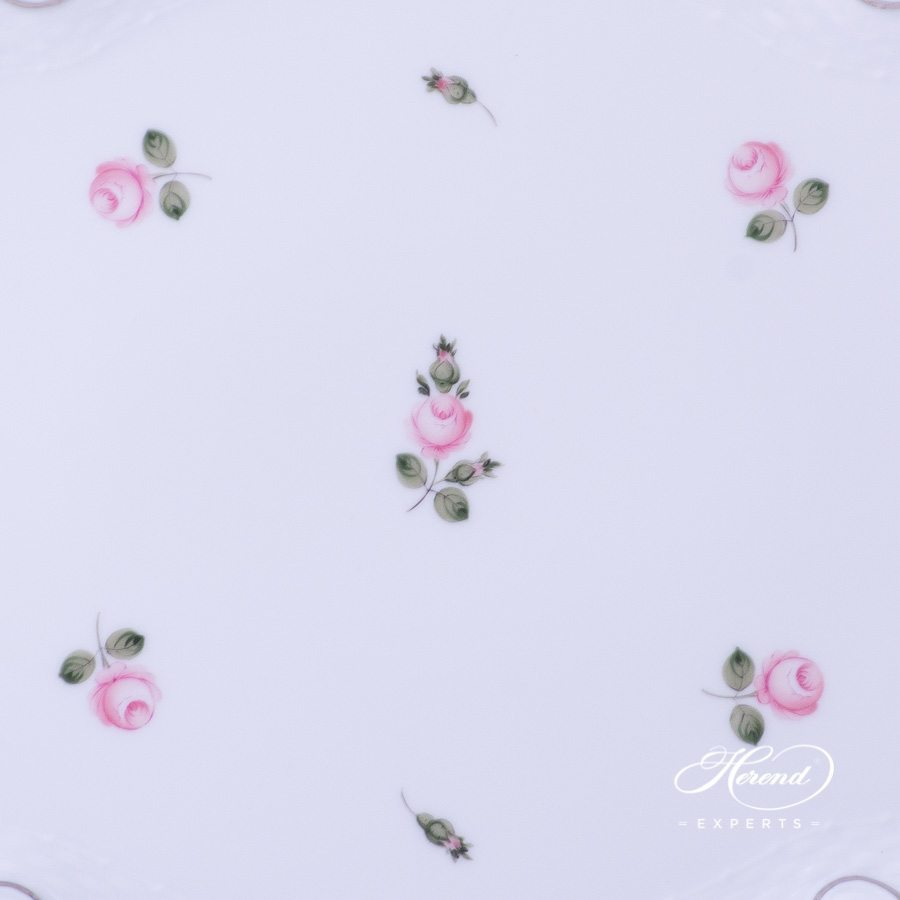 Tray with Ribbon Vienna Rose Platinum VR-PT - Herend porcelain hand painted.